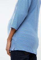 edit Maternity - Crew neck knit top - blue & white