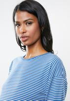 edit Maternity - Crew neck knit top - blue & white