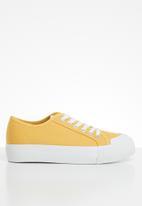 ONLY - Saloni plain canvas sneaker - yellow