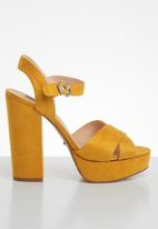 ONLY - Allie wide crossed heeled sandal - yellow