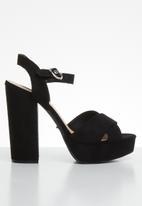 ONLY - Allie wide crossed heeled sandal - black
