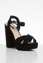 ONLY - Allie wide crossed heeled sandal - black