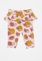 POP CANDY - Baby girls printed leggings with frill - peach