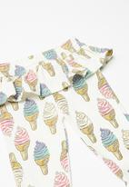 POP CANDY - Ice-cream printed leggings with frill - multi