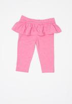 POP CANDY - Baby girls melange frill legging - pink