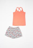 POP CANDY - Girls unicorn pajamas short sleeve & shorts set - coral pink & grey