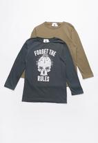 Rebel Republic - Kids long stripe sleeve tops - navy & khaki