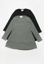 Rebel Republic - 2 pack long sleeve dresses - black & grey