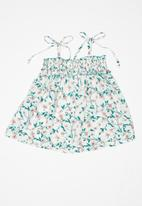 POP CANDY - Relaxed spaghetti strap top - white & green