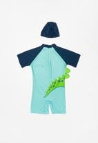 POP CANDY - Dino swimsuit - green & blue