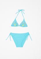 POP CANDY - Bikini with flower embroidery - blue