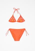 POP CANDY - Girls flower embroidery bikini - red