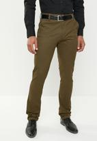 Pringle of Scotland - Shamus flat front straight fit trousers - khaki