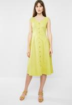 edit - Fit & flare linen dress - lime yellow