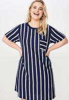 Cotton On - Curve relaxed tee dress  - blue