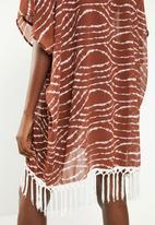 Superbalist - Tassle detail kaftan - brown & white