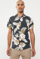 Jack & Jones - Hawaii resort short sleeve shirt - charcoal