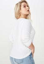 Cotton On - Curve round neck long sleeve  - white