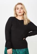 Cotton On - Curve round neck long sleeve  - black