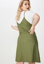 Cotton On - Curve slip dress with waist tie  - green