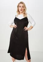 Cotton On - Curve slip dress  - black
