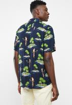 Only & Sons - Sid short sleeve reg all over print viscose shirt - navy