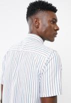 Only & Sons - Travis short sleeve striped shirt - green & burgundy