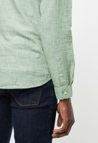 Only & Sons - Caiden long sleeve stripe half placket shirt - green