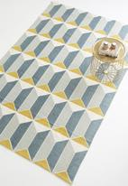 Sixth Floor - Reine printed rug - grey & yellow