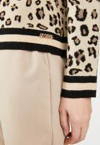 Sissy Boy - Animal print knit cardigan - beige & black