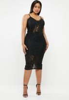 Missguided - Curve sport tape strappy midi dress - black