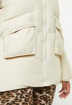Missguided - Ultimate hooded puffer jacket - cream