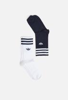 adidas Originals - Solid crew 2 pack socks - blue & white