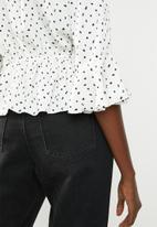 Missguided - Spot wrap front peplum top - cream & black