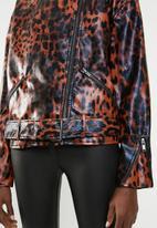 Missguided - Animal boyfriend biker jacket - brown & black