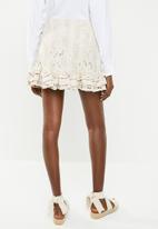 Missguided - Broderie anglaise frill hem mini skirt - neutral