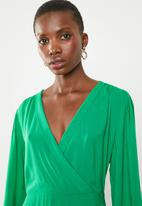 Superbalist - Mock wrap over dress - green