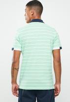 Jack & Jones - Stripe short sleeve polo - green & white