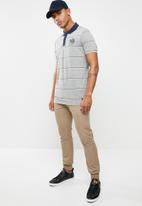 Jack & Jones - Stripe short sleeve polo - grey & navy