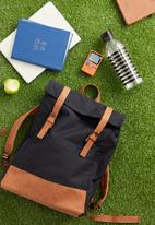Typo - Roll top backpack - navy & tan