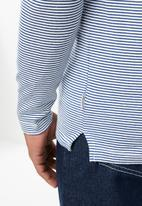 Jack & Jones - Hivaz long sleeve polo - blue & white