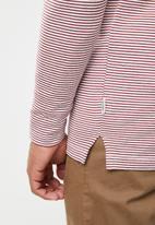 Jack & Jones - Hivaz long sleeve polo - burgundy & white