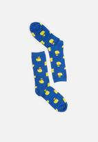 Typo - Cool burger ducky socks - blue & yellow