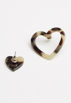STYLE REPUBLIC - Heart earrings - brown