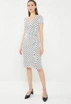 edit - Front wrap over dress - black & white