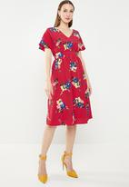 edit - Fit and flare dress with back neck ties - multi
