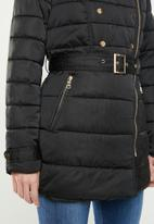 edit - Biker style quilted puffer - black