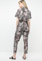 Superbalist - Collared animal print jumpsuit - neutral & black