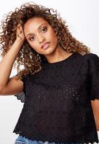 Cotton On - Billy short sleeve blouse  - black