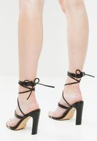 Public Desire - Candid perspex strap lace up heel - black